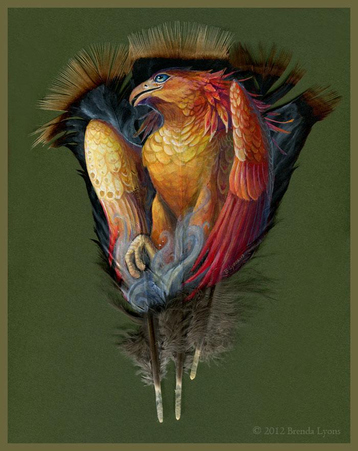 animals painted onto bird feathers by brenda lyons falcon moon studio (7)
