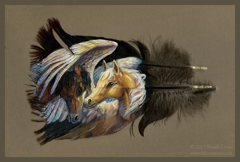 animals painted onto bird feathers by brenda lyons falcon moon studio (8)
