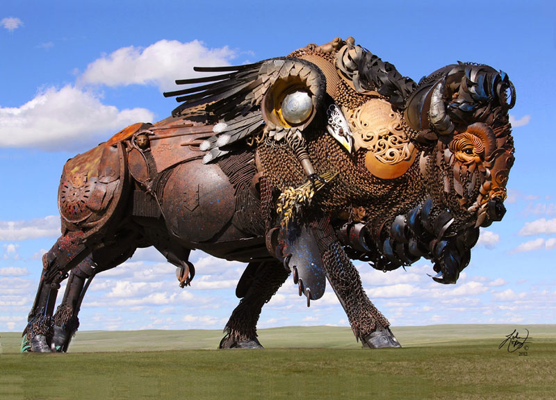 scrap metal bison by john lopez 3 Artist Turns Discarded Electronics Into Amazing Winged Insects
