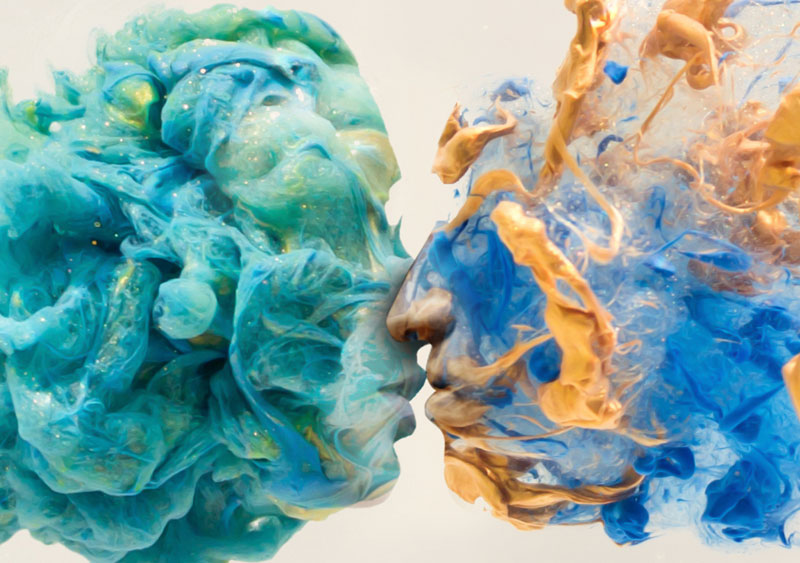 Surreal Double Exposures of Faces Blended Into Plumes of Ink in Water