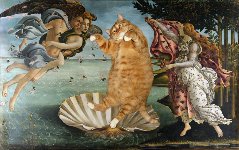 fat cat photoshopped into famous artworks 14 Art Students in Japan Made a Giant Cat Head and its Glorious