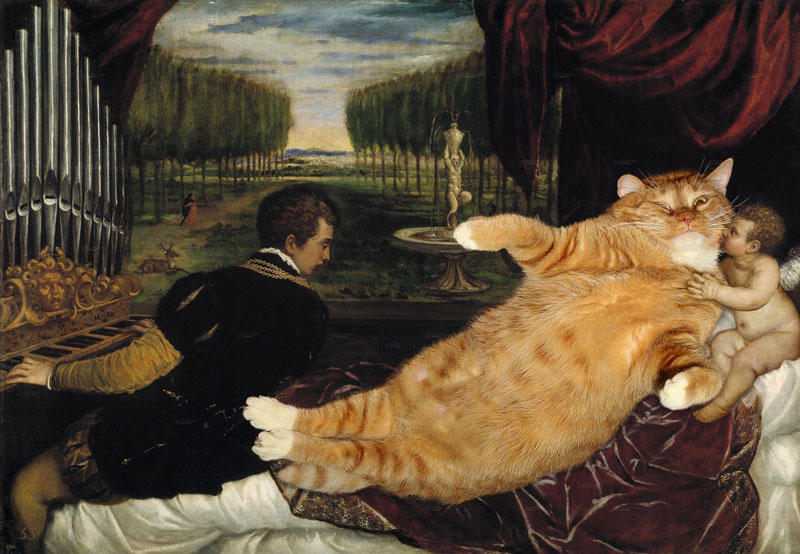 fat cat photoshopped into famous artworks (9)