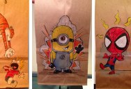 This Dad Has Drawn on His Son's Lunch Bag Every Day for 2 Straight Years