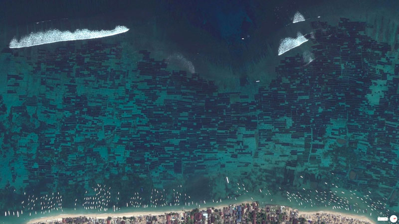 seaweed farm indonesia from above aerial satellite 17 Satellite Photos Around the World that Will Change Your Perspective