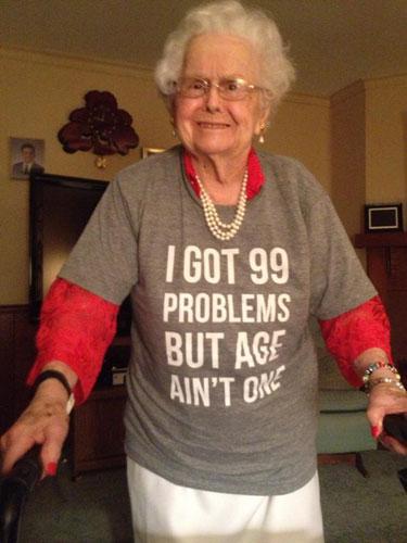 99th birthday for grandma funny tshirt Grandson Fulfills Promise to Shave Beard for Grandmas 100th Birthday