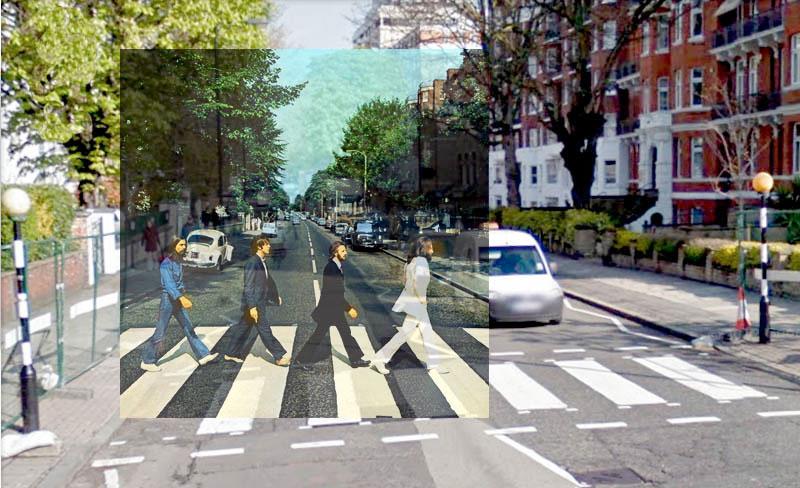 Abbey_album superimposed onto actual location