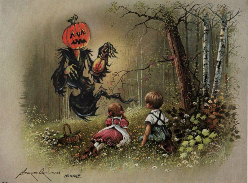 adding characters to thrift store paintings by david irvine gnarled branch (1)