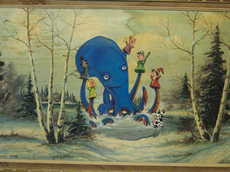 adding characters to thrift store paintings by david irvine gnarled branch (23)