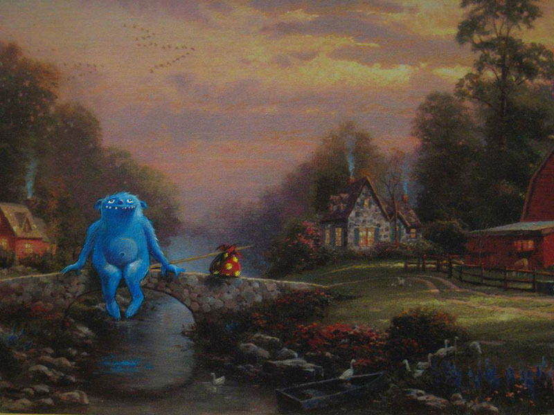 adding characters to thrift store paintings by david irvine gnarled branch (24)