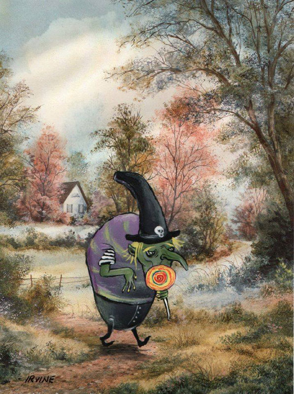 adding characters to thrift store paintings by david irvine gnarled branch (28)