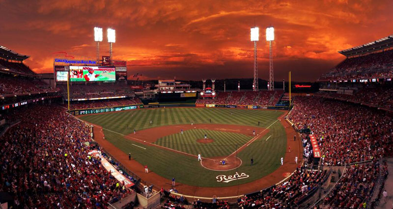 crimson red sky at the reds game Picture of the Day: Crimson Skies at the Reds Game