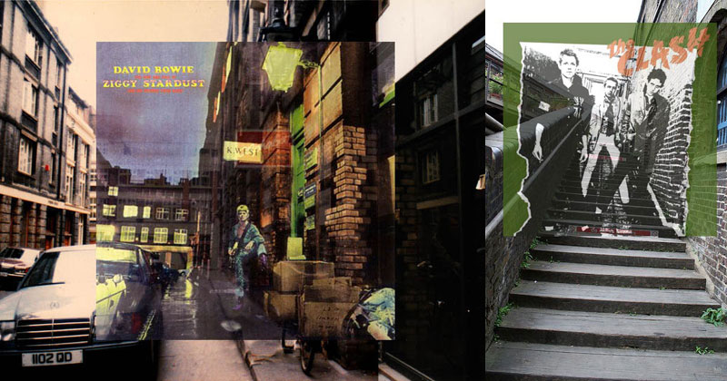 Famous Album Covers Superimposed onto their Actual Locations