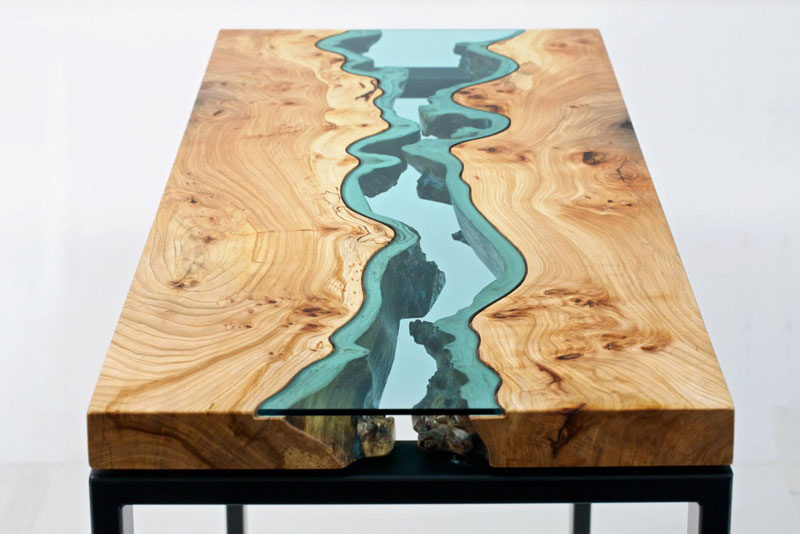 furniture with rivers of glass running through them by greg klassen 4 Molten Metal Meets Wood to Create One of a Kind Furniture