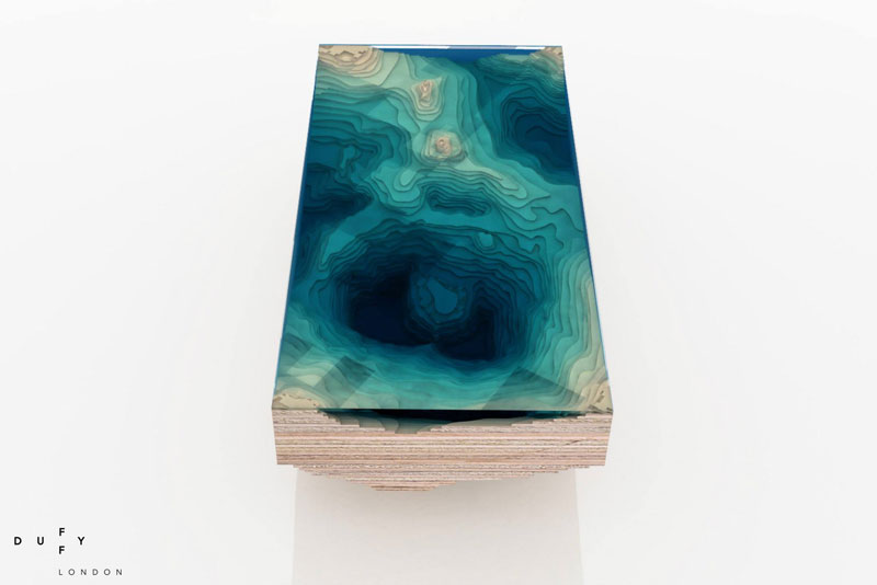 layered glass coffee table shows depths of the oceans by duffy london (1)