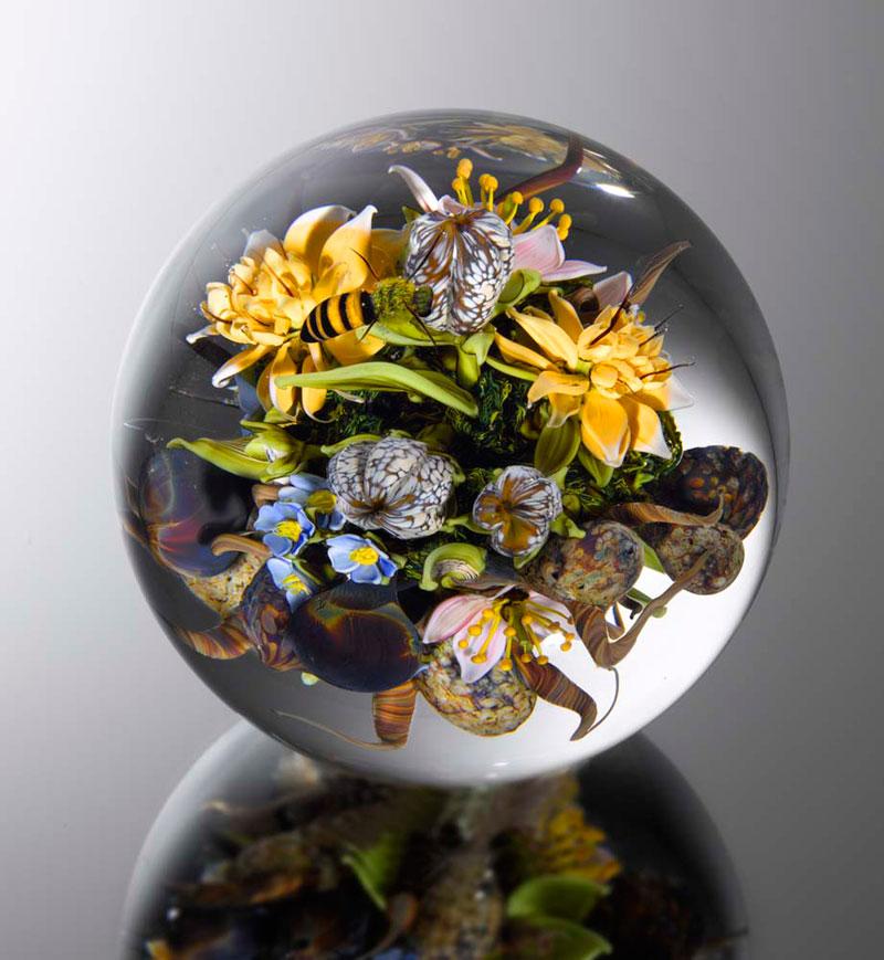 miniature glass gardens encased in clear glass orbs by paul stankard (3)