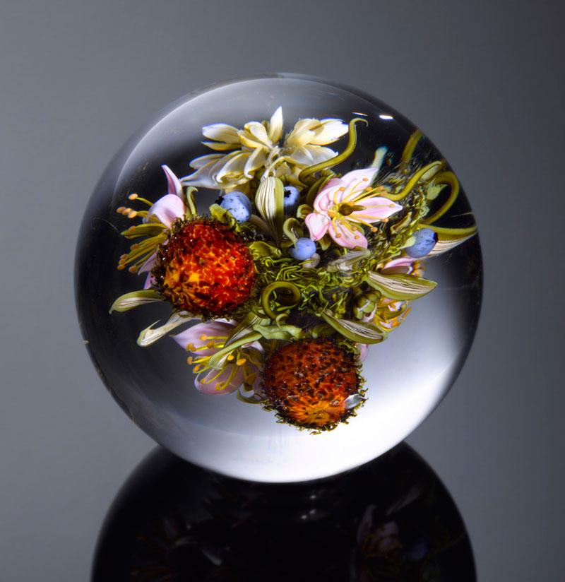 miniature glass gardens encased in clear glass orbs by paul stankard (7)