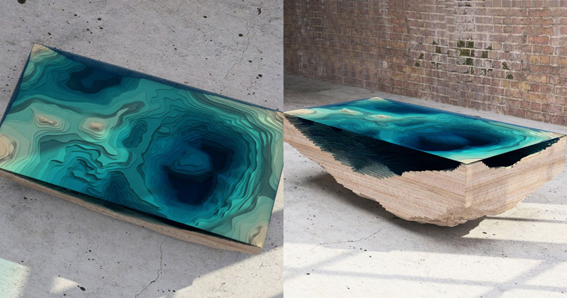 ocean cross section coffee table Rippling Water Tables by Zaha Hadid