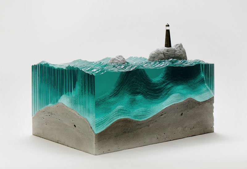waves of cut glass by ben young 1 Amazing Crashing Wave Glass Sculptures by Blaker DeSomma