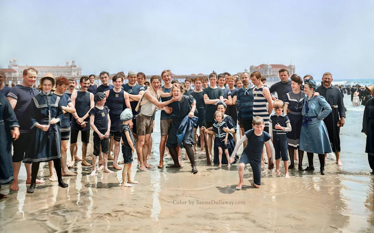 colorized beach photo 1905 atlantic city new jersey sanna dullaway