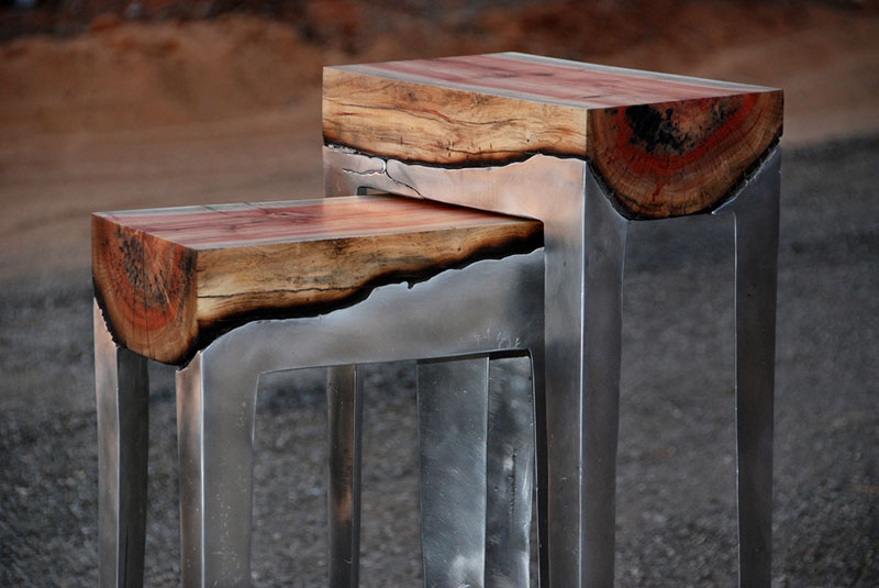 molten metal meets wood furniture hilla shamia (1)