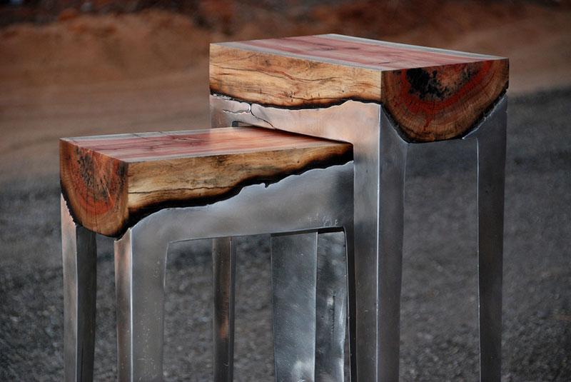 molten metal meets wood furniture hilla shamia 1 Inception Chair by Vivian Chiu