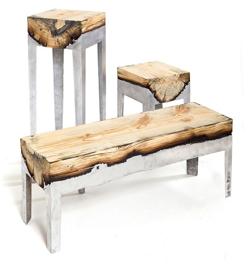 molten metal meets wood furniture hilla shamia (6)