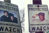 Adding Superheroes and Crime Fighters to Neighborhood Watch Signs