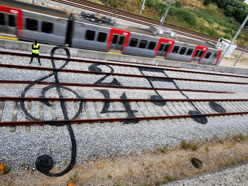 railroad sheet music street art by bordalo Picture of the Day: Railroad Sheet Music