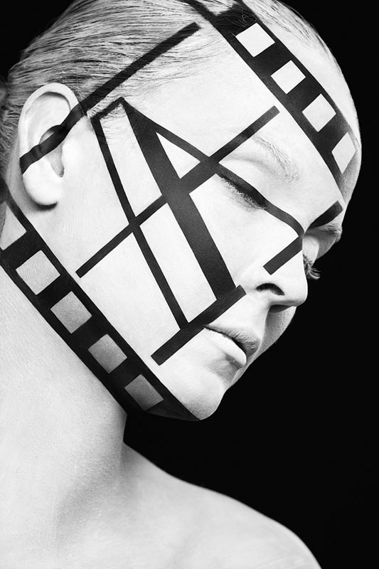 Black and White Portraits of Faces Painted Black and White (11)