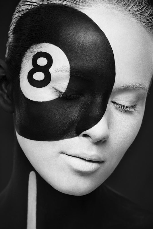 Black and White Portraits of Faces Painted Black and White (15)