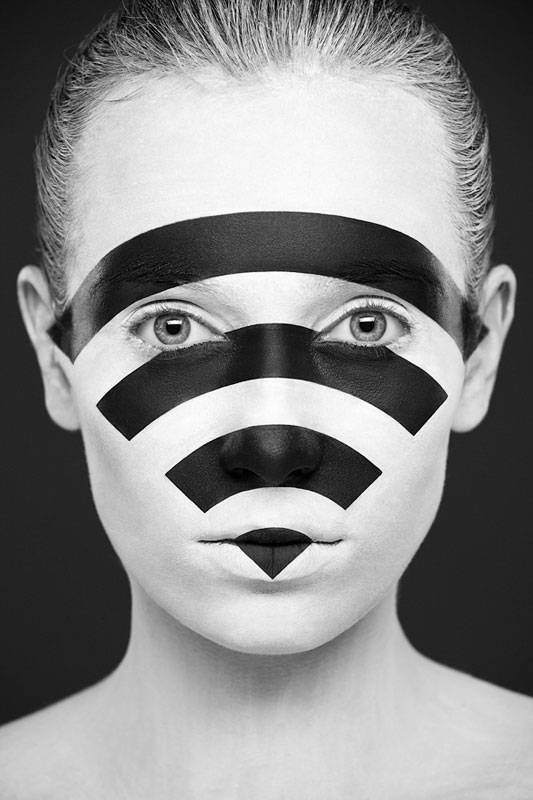 Black and White Portraits of Faces Painted Black and White (3)