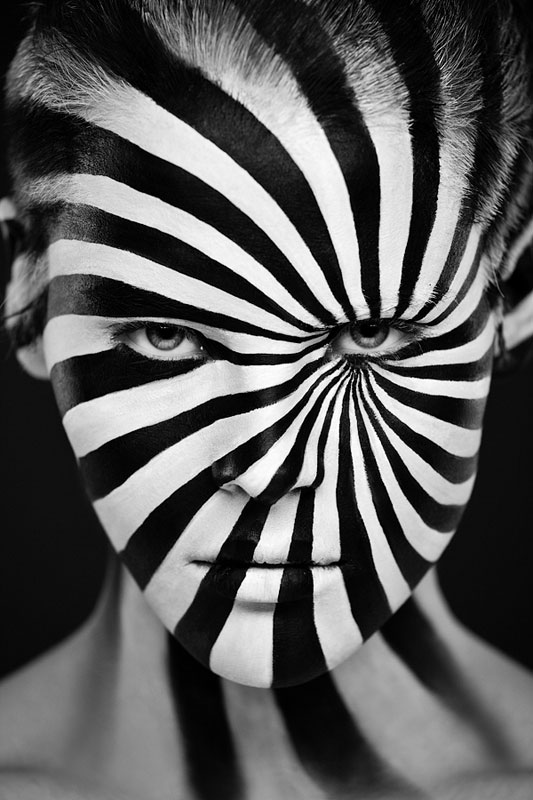 Black and White Portraits of Faces Painted Black and White (4)