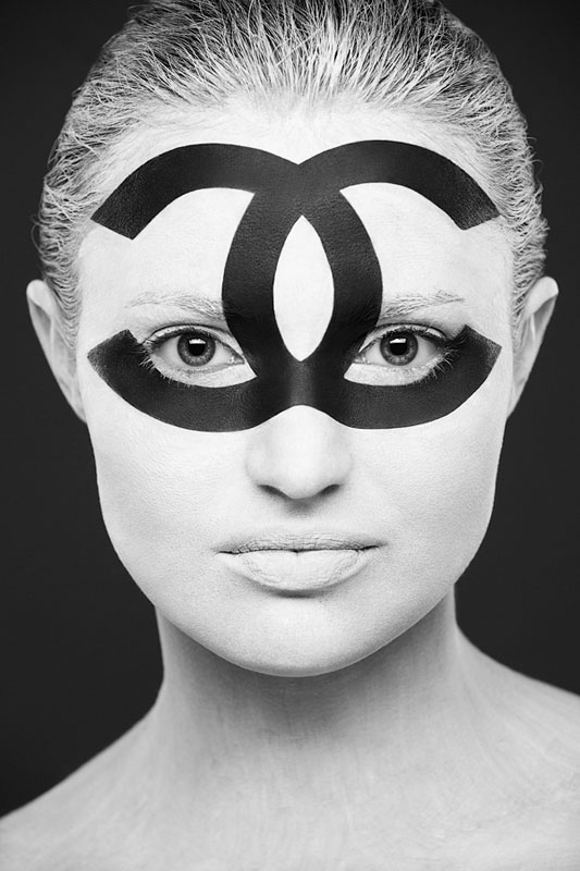 Black and White Portraits of Faces Painted Black and White (6)
