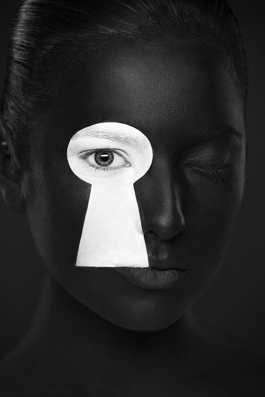 Black and White Portraits of Faces Painted Black and White (7)