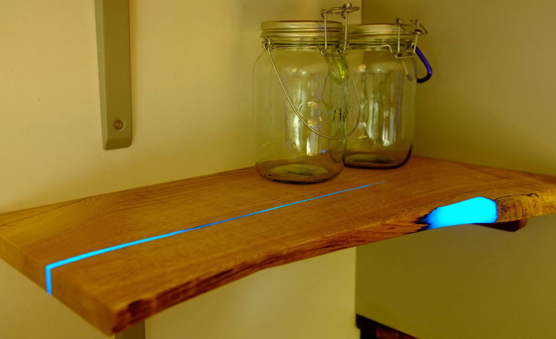 diy shelves with glow in the dark resin inlay 16 Artist Uses PVC Pipes to Knit a Giant Blanket