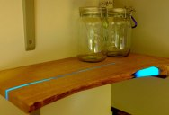 DIY Shelves with Glow in the Dark Resin Inlay