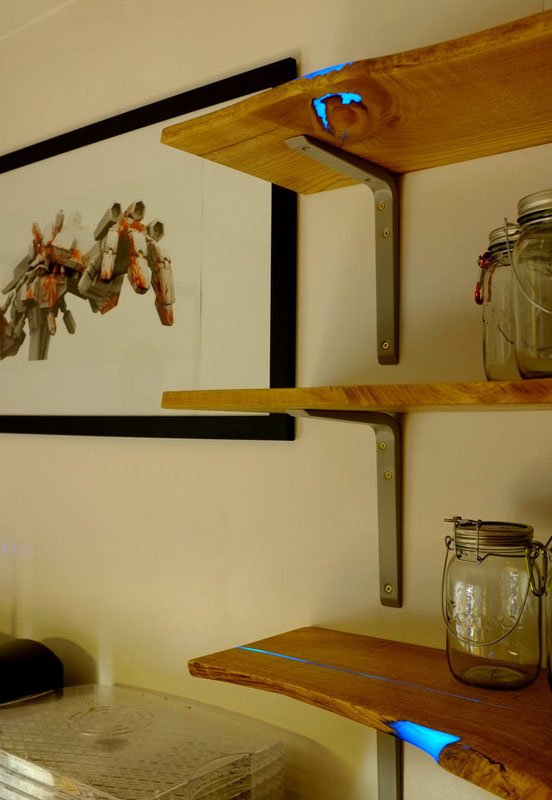 diy shelves with glow in the dark resin inlay (18)
