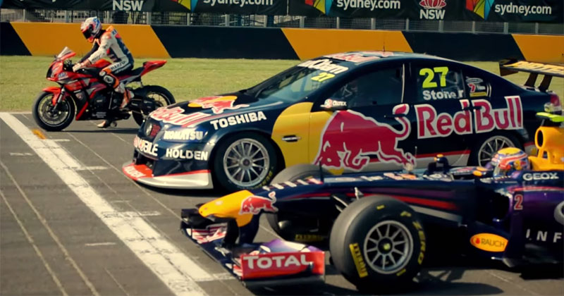 What Happens When an F1 Car, Supercar and Motorbike Race?