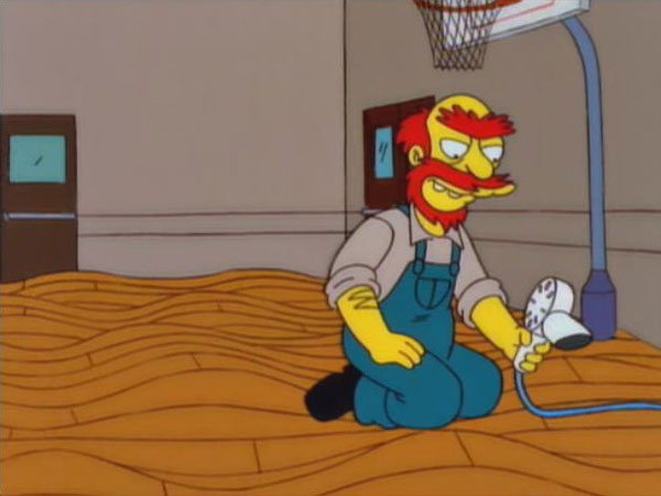 groundskeeper willie blow drying basketball court So the Pipes Underneath this Basketball Court Just Burst