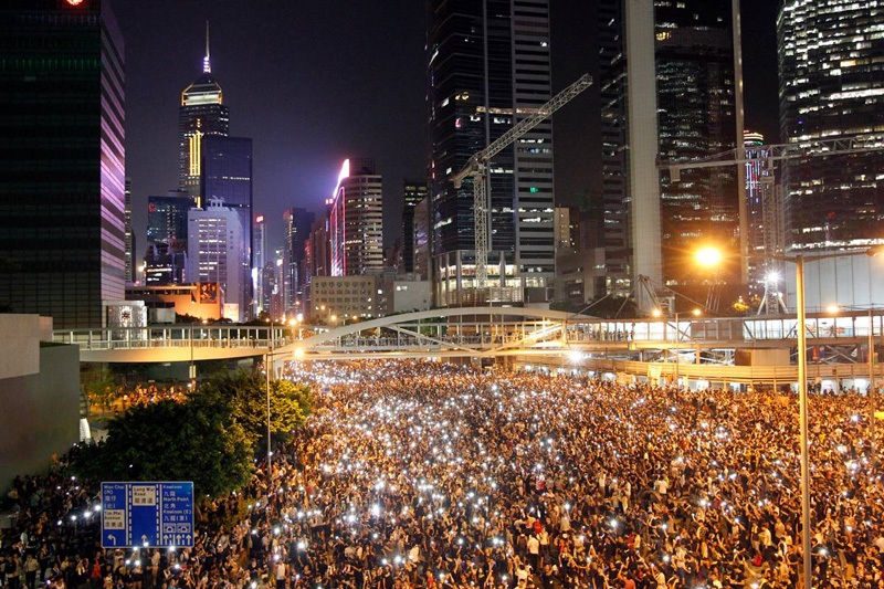 hong kong protests aerial at night cell phones 2014 The Top 100 Pictures of the Day for 2014