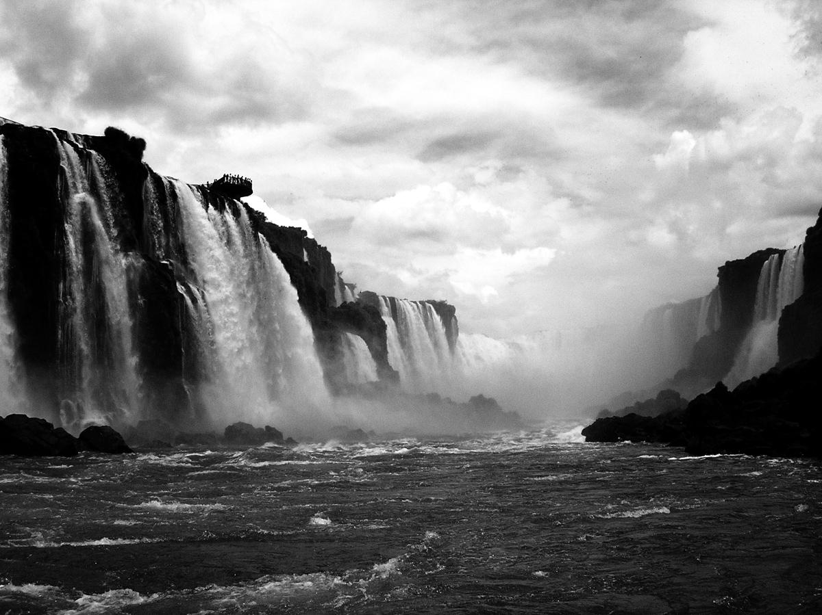 iguazu falls brazil black and white from below Picture of the Day: Iguazu Falls from Below