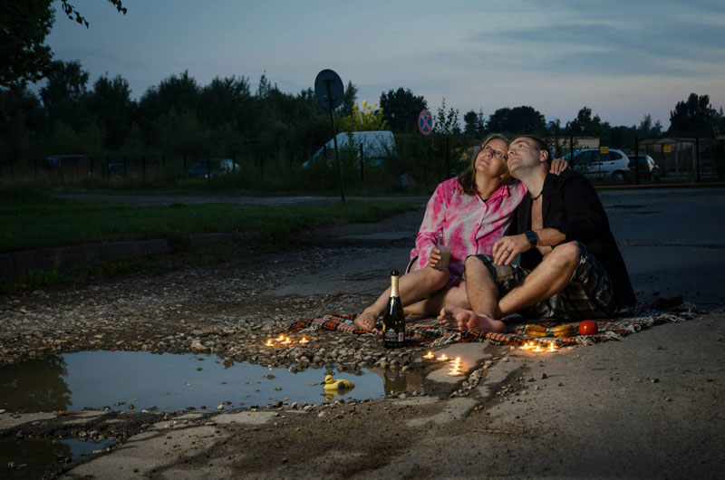 lithuanian artists create funny photos to highlight their citys pothole problem (3)