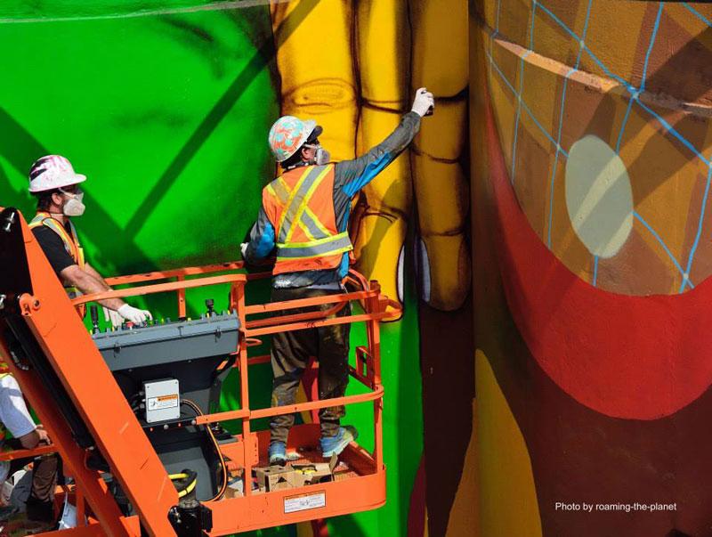 osgemeos granville island concrete silos vancouver biennale 2014 11 OsGemeos Complete First 360 Mural on Six Giant Concrete Silos