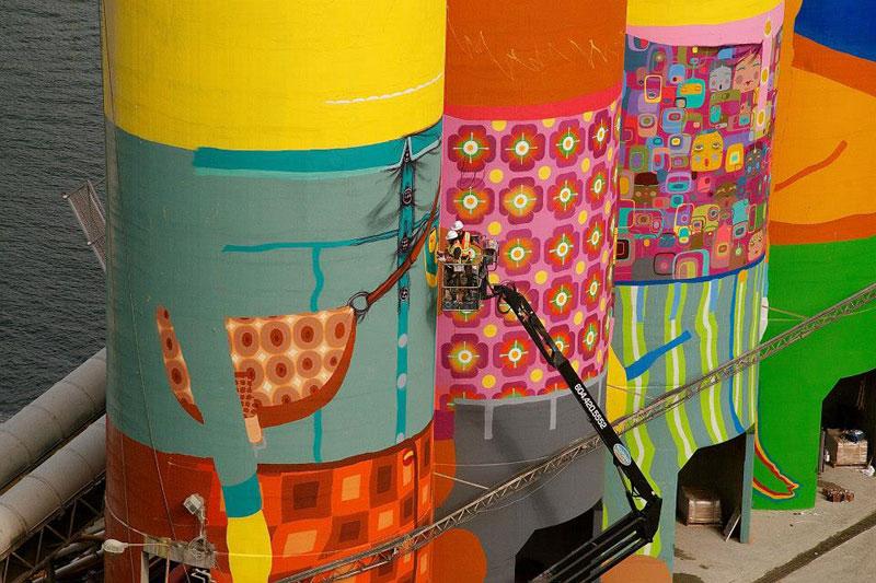 osgemeos granville island concrete silos vancouver biennale 2014 12 OsGemeos Complete First 360 Mural on Six Giant Concrete Silos