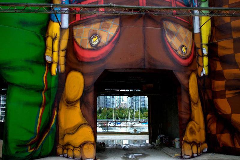 osgemeos granville island concrete silos vancouver biennale 2014 3 OsGemeos Complete First 360 Mural on Six Giant Concrete Silos