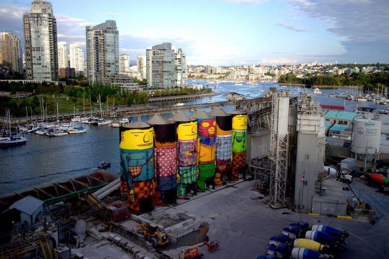 osgemeos granville island concrete silos vancouver biennale 2014 9 OsGemeos Complete First 360 Mural on Six Giant Concrete Silos