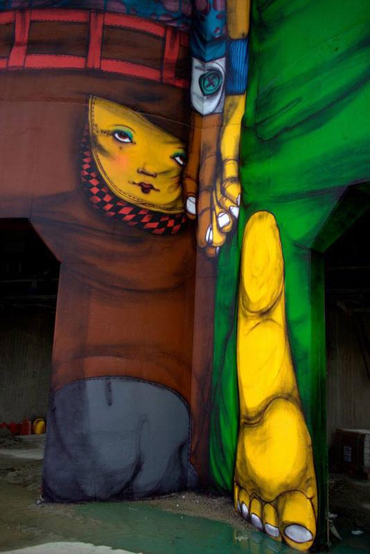 osgemeos granville island concrete silos vancouver biennale 2014 OsGemeos Complete First 360 Mural on Six Giant Concrete Silos