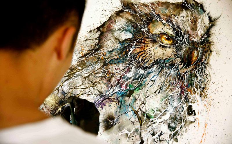 splatter ink animal portraits by hua tunan (1)
