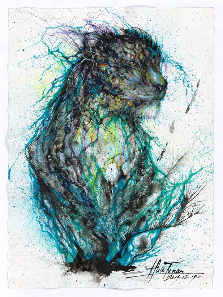 splatter ink animal portraits by hua tunan (9)