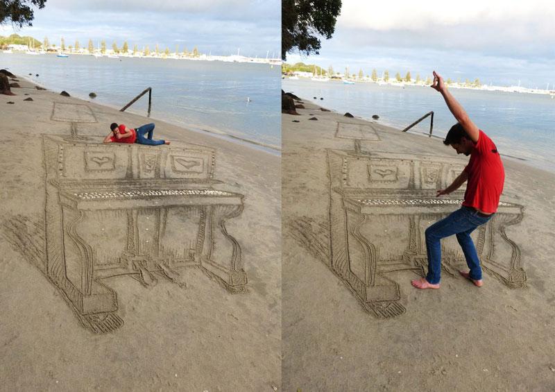3d sand piano beach art by jamie harkins (4)